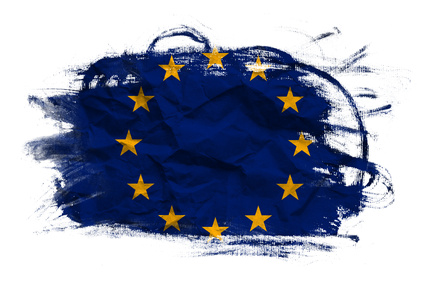 European union flag on Crumpled paper texture