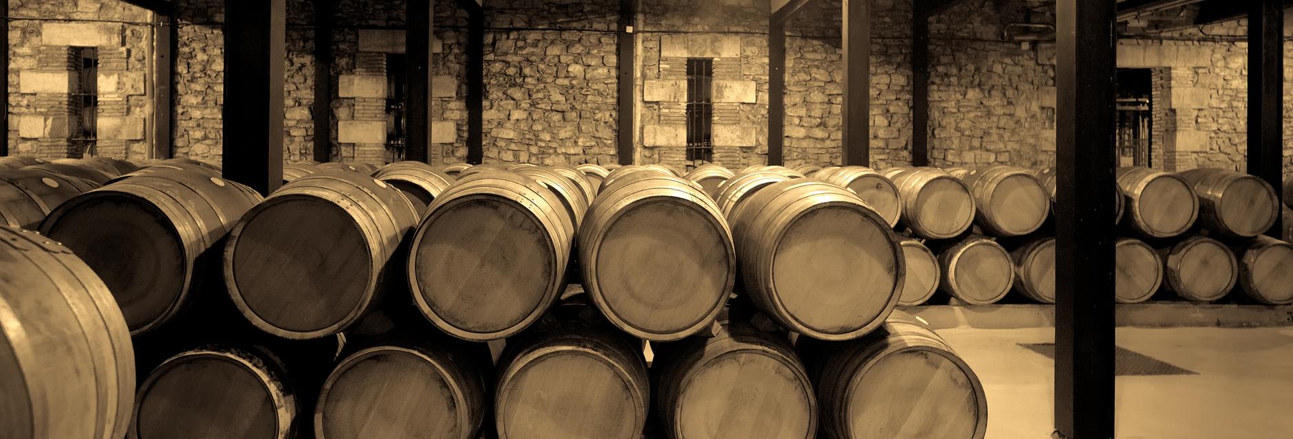 Aged photo of wine cellar