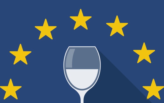 European Union long shadow flag with a glass of wine