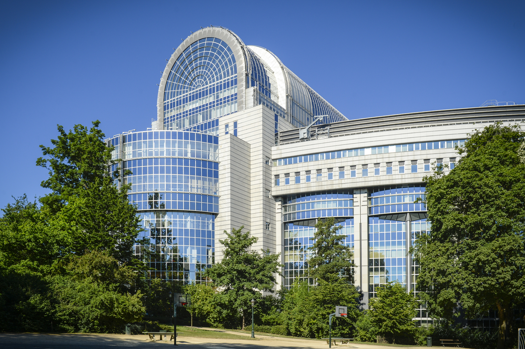Outside view in summer Paul-Henry Spaak building of the European Parliament in Brussels